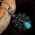 Exquisite antigo turquesa pavão colar pingente charme jóias para mulheres colar acessórios