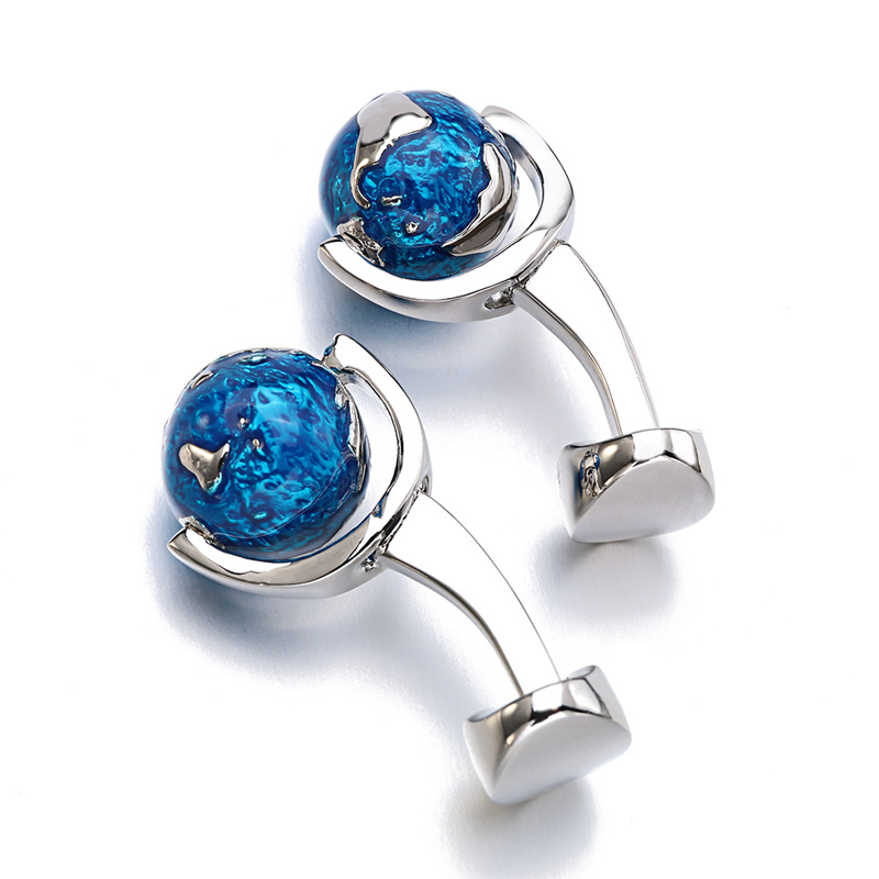 Fashion Globe Earth Cufflinks Blue Rotatable globe planet earth World Map Cuff links Christmas Gift For Men Cufflink gemelos