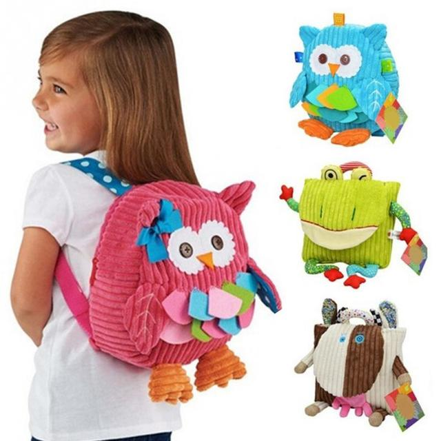New cute cartoon soft plush owl cow animals backpack toy for kids girls boys nursery schoolbag zipper baby bags