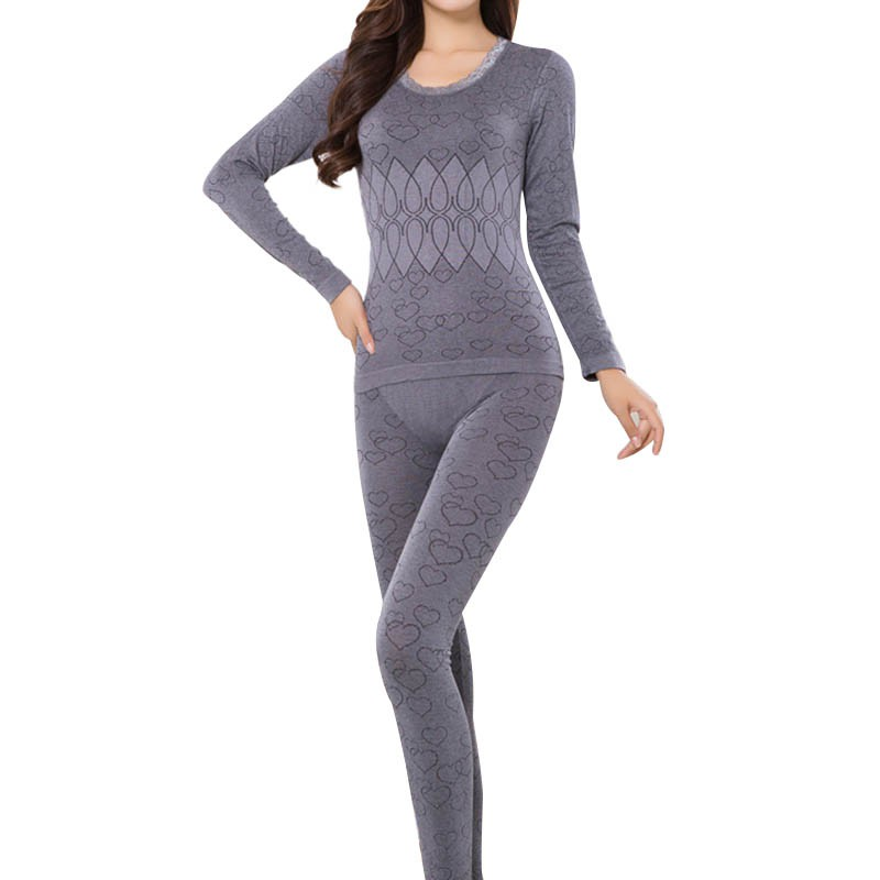 Long Johns Winter Women Clothing Lace Neck Female Long-sleeve Intimate Pajama Suit Keep Warm Underwear