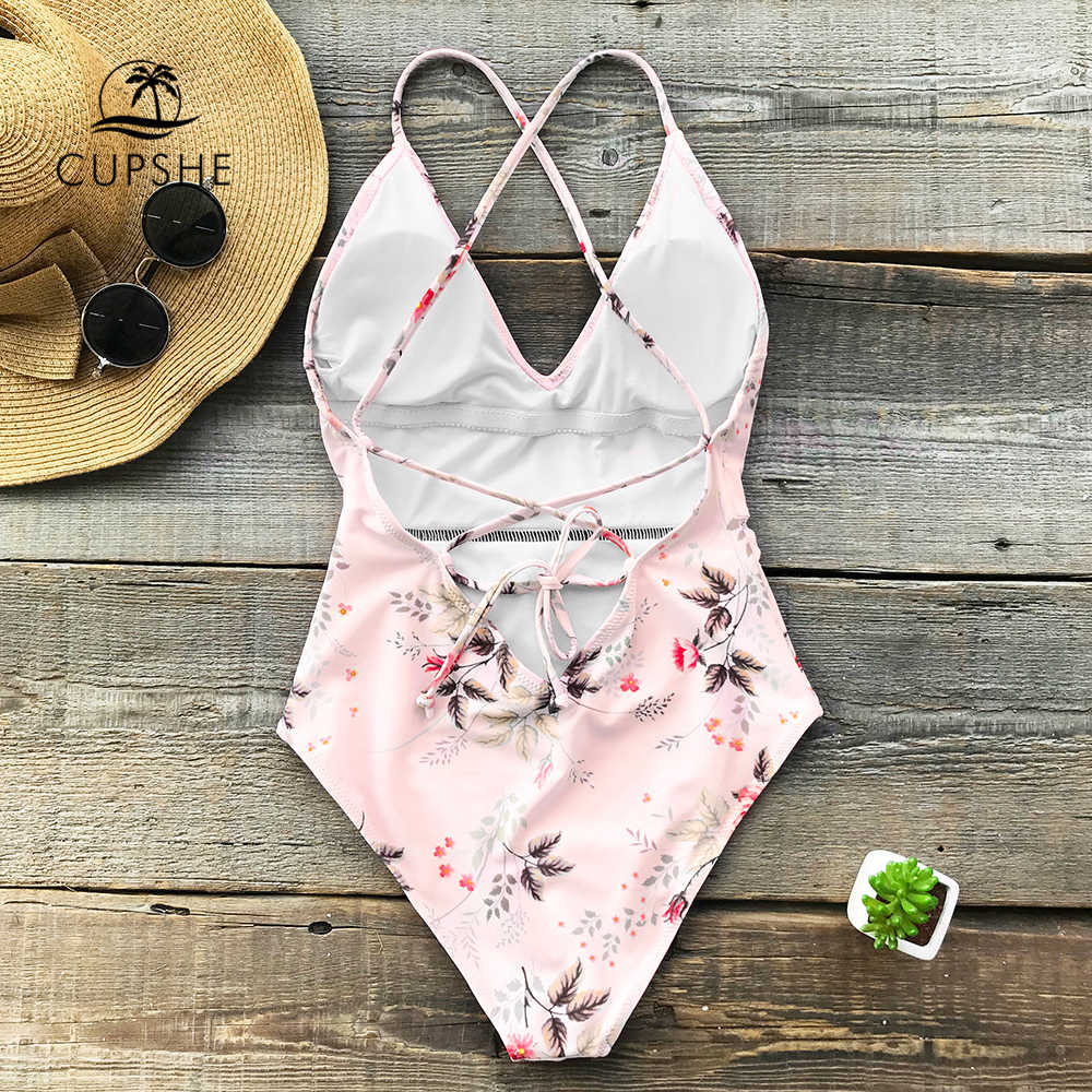 acdf342881e4 ... CUPSHE 2018 Pink Floral Print One-piece Swimsuit Women Deep V neck Sexy  Bikini Monokini ...