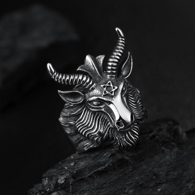 Aries Zodiac Goat Head Ring 1