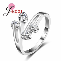 JEXXI Charming AAA+ Austrian Crystal Women Girl Wedding Rings Fashion Design Femme 925 Sterling Silver Engagement Ring