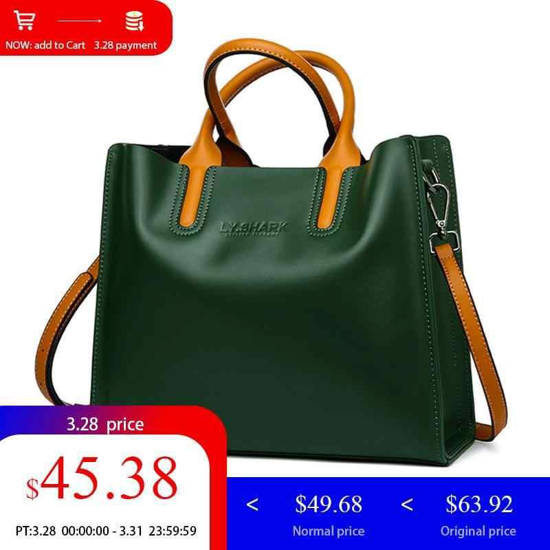 74759475b3b LY.SHARK Big Messenger Bag Women Shoulder Bag Female Bag Ladies Genuine  Leather Bags For Women 2019 Women Handbags Green Black