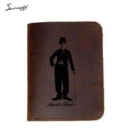 Lazer Kazınmış Chaplin portre Çanta Erkek Hakiki Deri Cüzdan Erkek Özel Ad Hediye Çanta Kart tutucu Erkekler Cüzdan