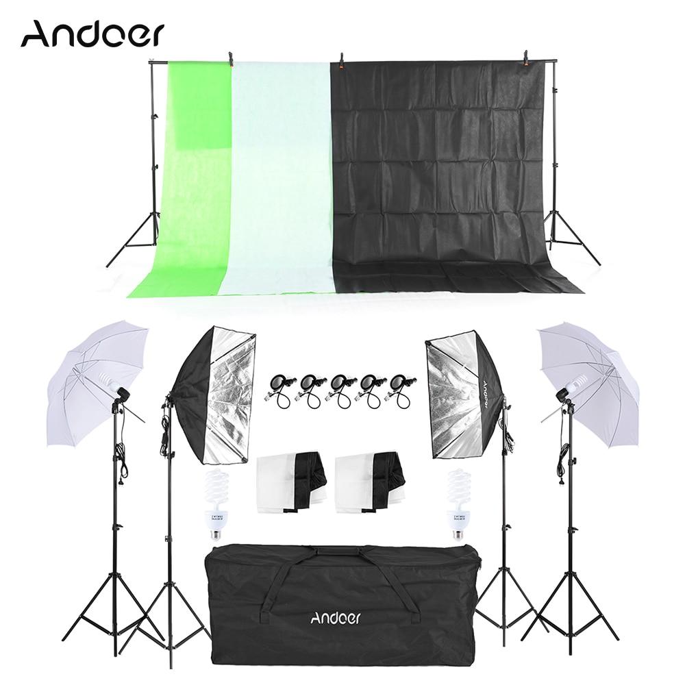 Russia Free Shipping Photo Studio Kit Softbox Umbrella With Bulb Holder Light Bulb Light Stand Black White Green Screen Backdrop