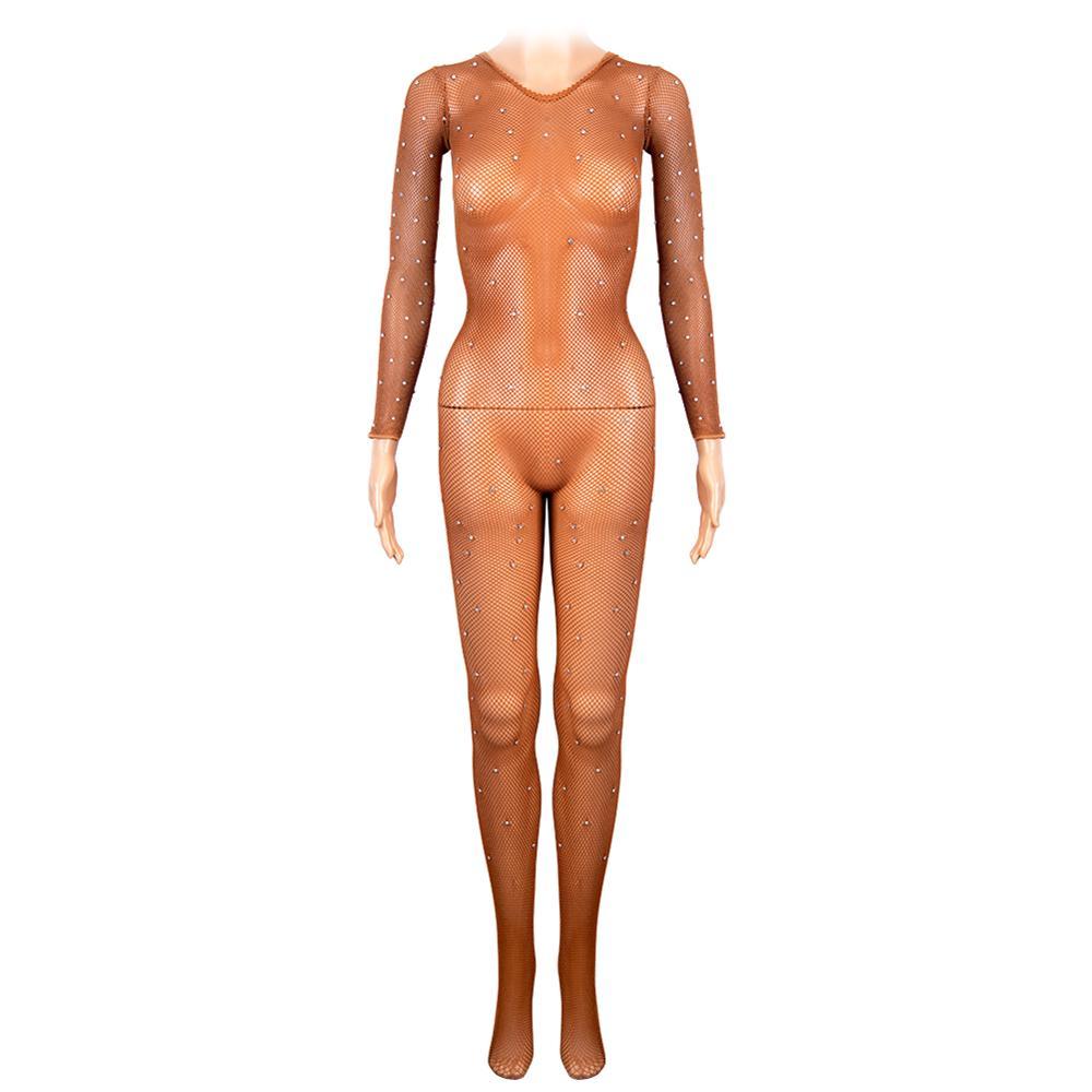 Image 2 - Latin Full Body Jumpsuits With Rhinestones Professional Fishnet Ballroom&Latin Dance Hard Yarn Elastic Latin Stockings PantyhoseTights   -