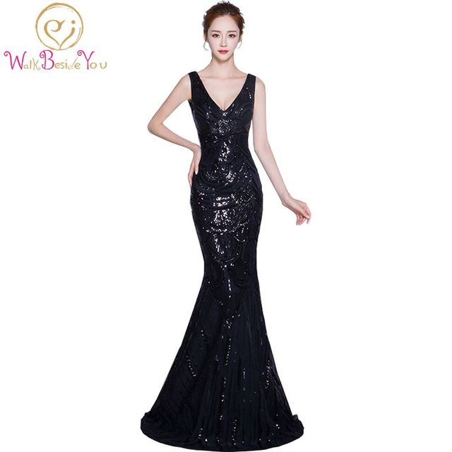 100% Real Image vestidos madre de la novia Black Mermaid Evening ...