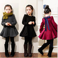 NEW 2017 kids 2/5000 Korean version Princess Vestidos thicking puls velvet dress for girls Basic dresses 3 4 5 6 7 8 years old