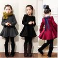 NUEVOS 2017 niños 2/5000 versión Coreana Princesa Vestidos puls vestido de terciopelo thicking para las niñas vestidos Básicos 3 4 5 6 7 8 años de edad