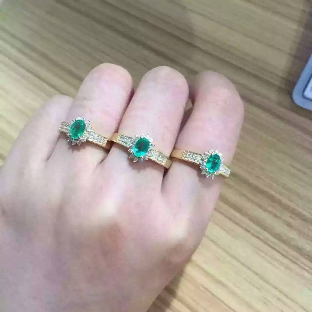 цена Natural green emerald Ring Natural gemstone Ring S925 sterling silver trendy Elegant round Diana women party gift Jewelry