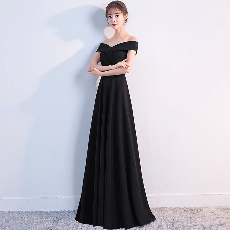 2019 New Long   Evening     Dress   Solid Color Sexy Prom   Dress   Women Party Satin Slim a Line Party   Dress   Haute Couture