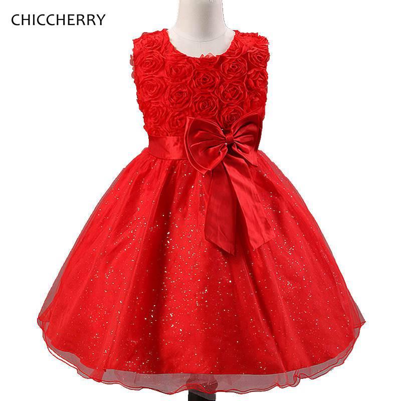 Romantic 3D Rose Flower Children Wedding Dress Elegant Bowknot Ball Gowns for Girls Robe De Mariee New Year Costumes for Kids 4pcs new for ball uff bes m18mg noc80b s04g