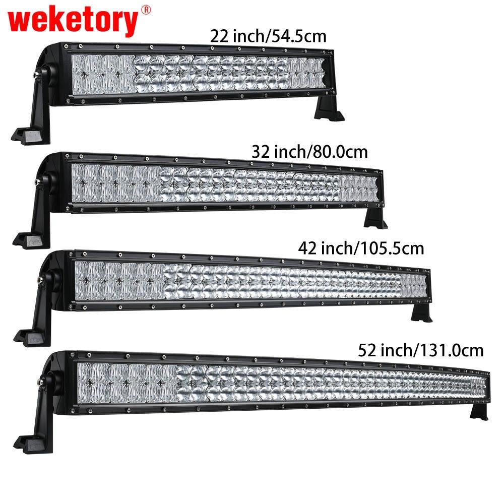 Weketory 5D 22 32 42 52 pouce 200 W 300 W 400 W 500 W Courbe LED travail Light Bar pour Tracteur Bateau OffRoad 4WD 4x4 Voiture Camion SUV ATV