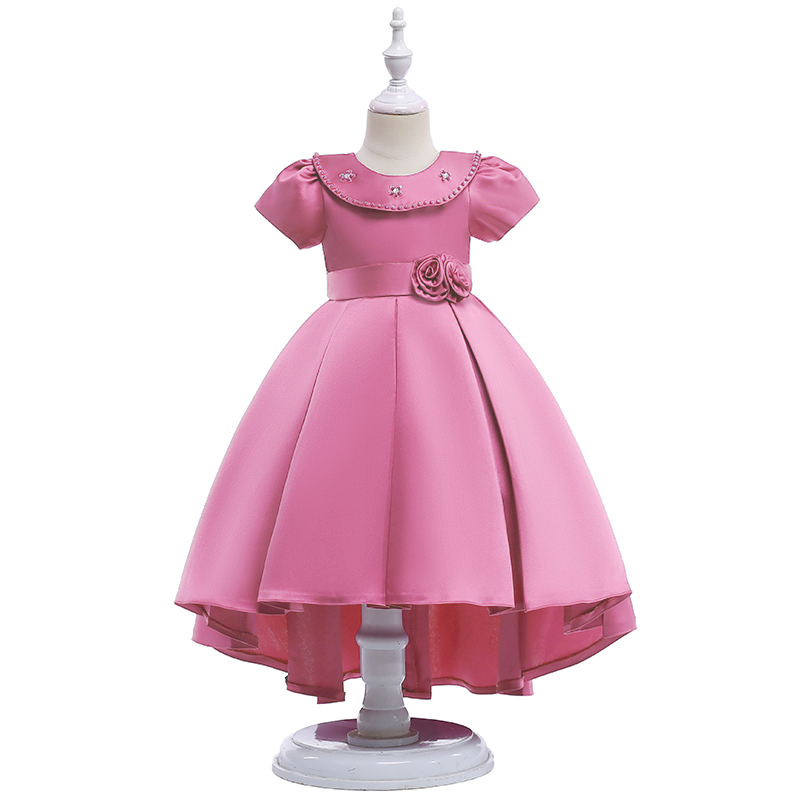 Retail High Quality Puffy Sleeves   Girls   Evening Party   Dress   With Big Bow Elegant Pearl Beading   Flower     Girls     Dress   L5008