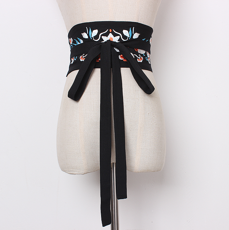 Women's Runway Fashion Embroidery Cotton Cummerbunds Female Dress Corsets Waistband Belts Decoration Wide Belt R1371