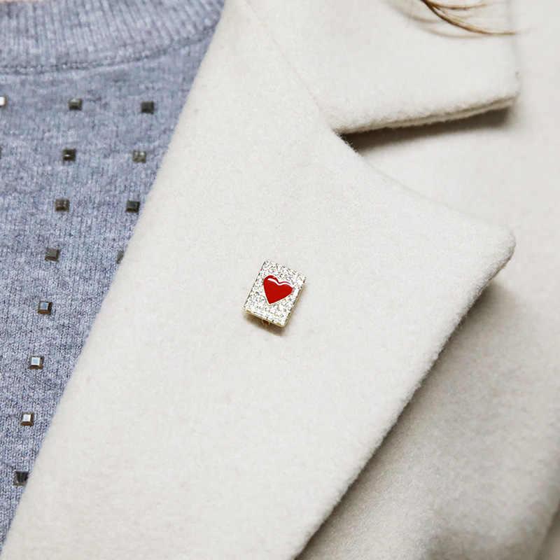 Blucome Sederhana Kecil Bros Bentuk Hati Merah Enamel Tembaga Perhiasan Wanita Gadis Kerah Rok Syal Selendang Fashion Klip Pin Ornamen