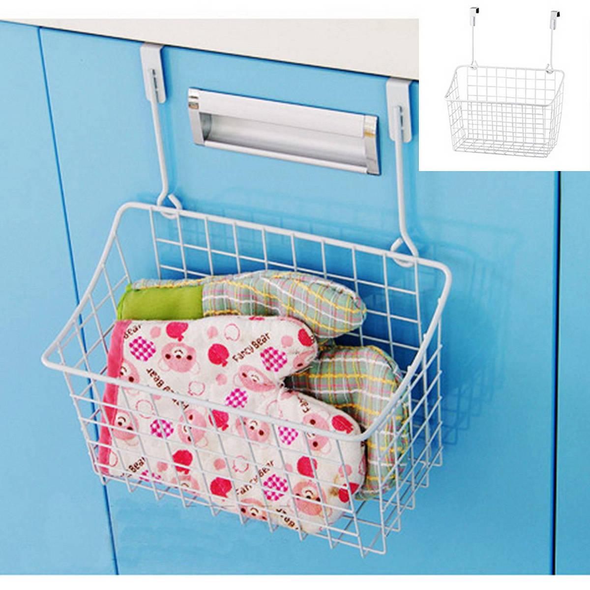 1Pcs White Kitchen Bathroom Storage Baskets Tools Behind Door Shower ...