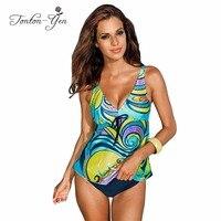 Plus Size Swimwear Print Women Beachwear