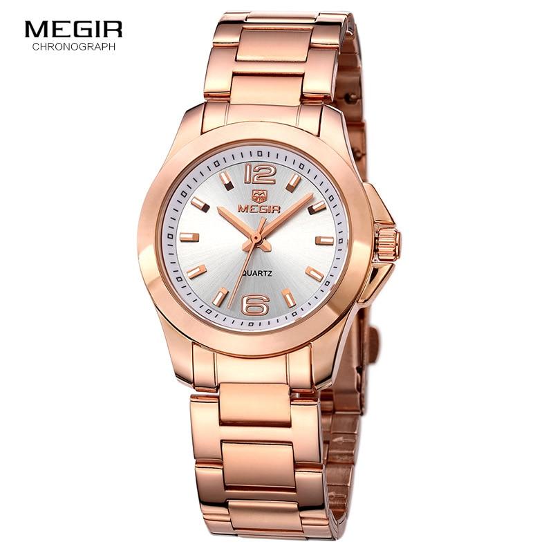 Megir Women's Analogue Quartz Watches Fashion Stainless Steel Strap Dress Wristwatches For Ladies Girls Rose Gold 5006LRE