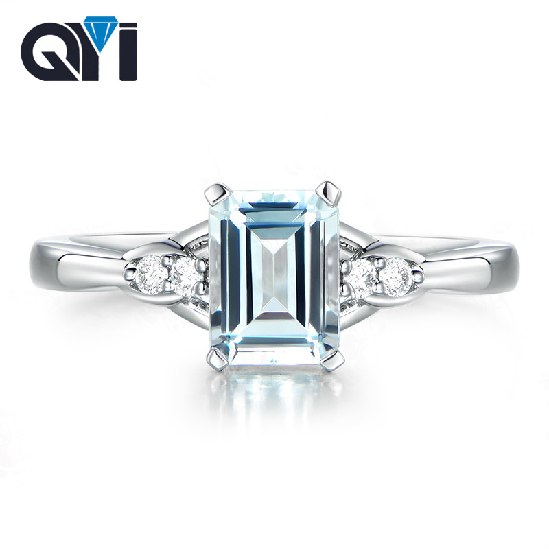 QYI Sterling Silver 925 Natural Sky Blue Topaz Rings For Women 25 ct Emerald Cut Classic Engagement Wedding Gemstone Rings