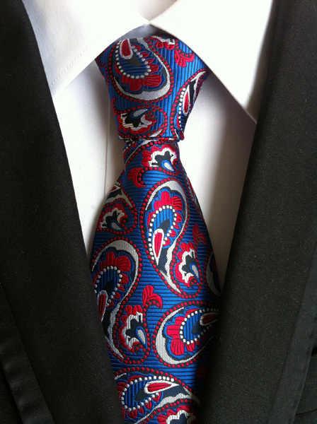De los hombres de lujo corbata azul con rojo blanco floral corbata