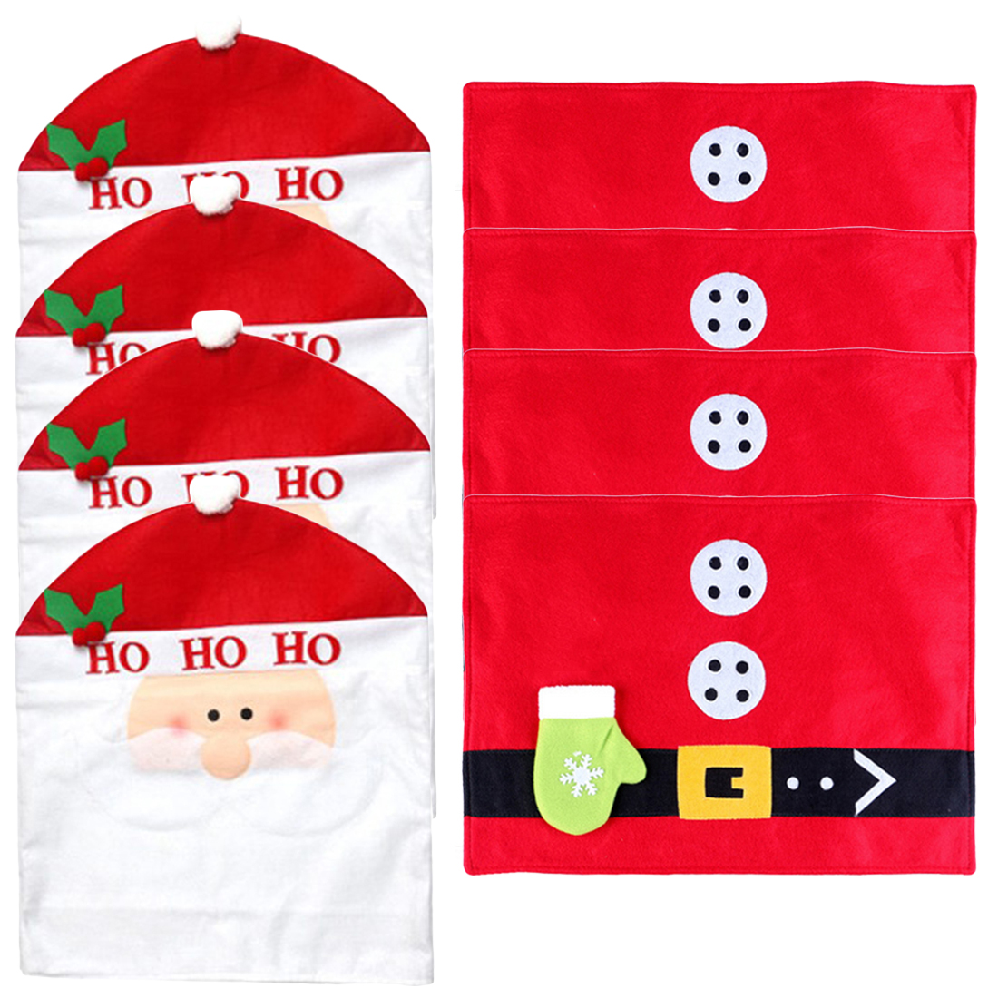 4Pcs/set Santa Claus Christmas Kitchen Chair Slip Covers + 4Pcs Christmas Tableware Mat Party Festival Supplies