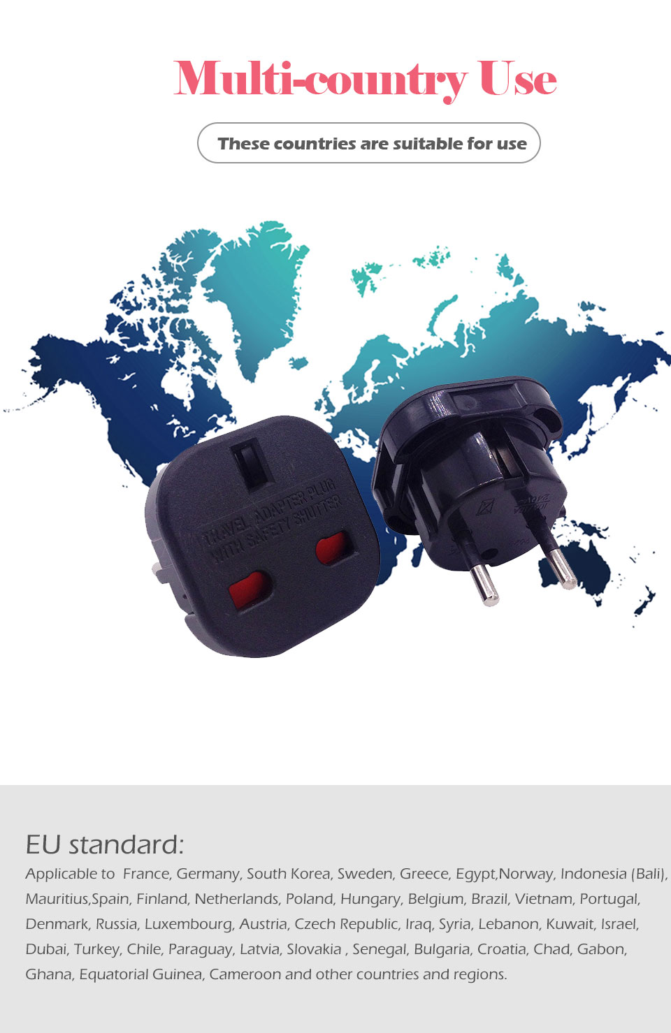 1PC UK To EU Plug 2 Round Pin Socket Travel Wall AC Power plug Charger Outlet Adapter Converter Italy Switzerland Travel Adaptor (5)
