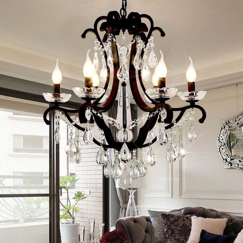 American Classic Crystal pendant lights Living Room Restaurant Bedroom Nordic Iron Candle  led pendant lamps 5/6/8 Heads living room bedroom restaurant pendant chandelier wave shaped crystal lamps bar dining room led lights 100% quality guarantee