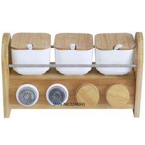 Image 5 - Caja de cerámica creativa para especias, tarro para especias, aceite para el hogar, sal, pimienta, condimento, juego de 7 piezas