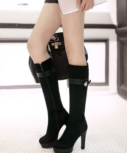 New Arrival Hot Sale Specials Super Fashion Influx Martin Roman Warm Platform Matte Belt Buckle Diamond Knight Heels Knee Boots EU34-43