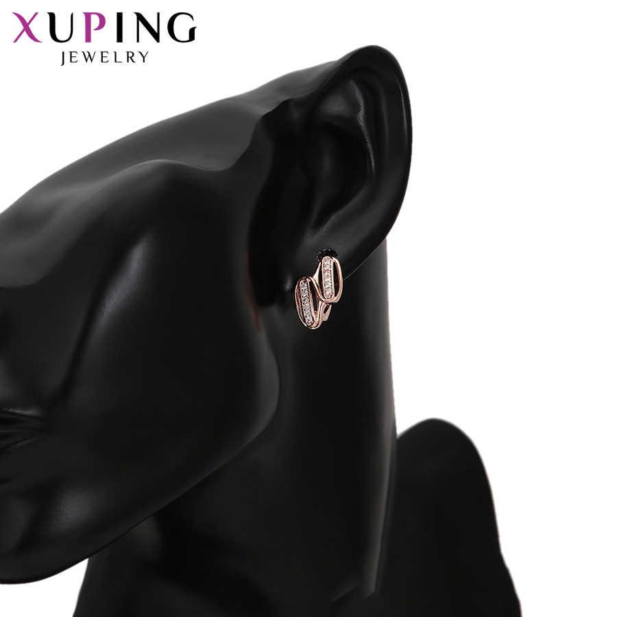 Xuping Fashion Rose Warna Emas Berlapis Perhiasan Set Elegan Sederhana Gaya untuk Wanita Pesta Ulang Tahun Hadiah S130-65220