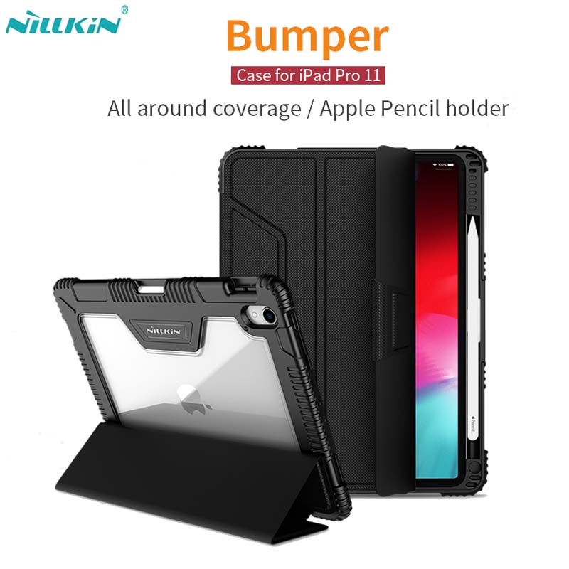 For iPad Pro 11 12.9 Case, Nillkin Shockproof TPU Bumper + Hard PC Leather Flip Cover for iPad 9.7 2017 2018 with Stand Function