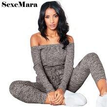 6443beab41f4 SexeMara Off Shoulder Knee Hole Long Sleeve Knit Jumpsuit Women 2018 Winter  Casual One Piece Romper