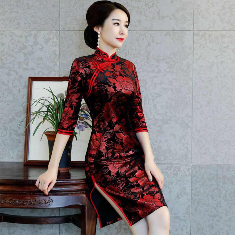 066a18761 Chinese Traditional Costume Mature Women Tighten Dresses Cheongsam Tang Suit  Velvet Peony Qipao Sexy Split Dress