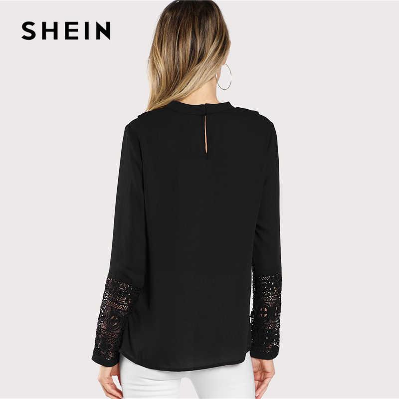 d058730de4 ... SHEIN Black Streetwear Elegant Office Lady Minimalist Flounce Neck Lace  Cuff Ruffle Solid Blouse Autumn Women ...