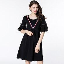 2017 Summer Women Plus Size Cotton Dresses Elegant Casual Chiffon Sleeves Lady Black Dress Ribbon O-Neck Woman Clothing M-5XL