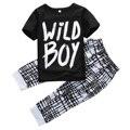 2Pcs Baby Set!!Baby Boys Summer Short Sleeve  Black Letter T-shirt Tops+Long Pants