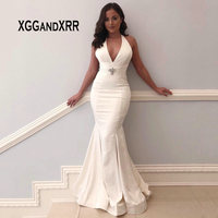 Elegant Deep V Neck Mermaid Long Evening Dress 2019 White Sleeveless Backless Evening Gowns Satin Pleats Crystal Sweep Train