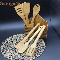 Top Grand 6Pcs Cooking Utensils Bamboo Wood Kitchen Slotted Spatula Spoon Mixing Holder Dinner Food Rice
