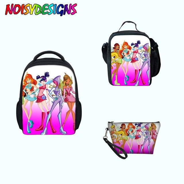 c4f2898086 Winx Club Game Children School Bags Backpack 3Pcs Set Kids Boys Girls  butterfly Travel Bags Bookbag Shoulder Gift Bag pouch