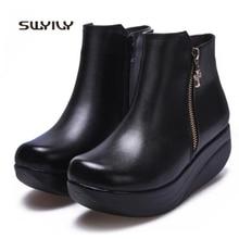 SWYIVY/Женская обувь; Сезон Зима; теплые женские кроссовки; Новинка года; бархатная женская обувь для танцев, визуально увеличивающая рост; большие размеры 43