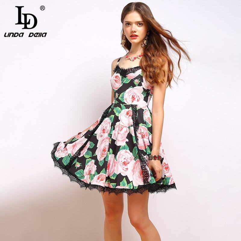 Ld linda della 패션 여름 드레스 여성 브이 넥 스파게티 스트랩 레이스 패치 워크 우아한 꽃 프린트 섹시한 미니 짧은 드레스-에서드레스부터 여성 의류 의  그룹 3