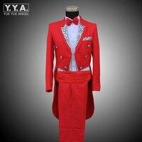 Fashion Mens Wedding Formal Suit Groom Mens Clothing Tail Tuxedo Trouse Party Coats SUIT&PANTS Stage Show Costumes Set Men Suits