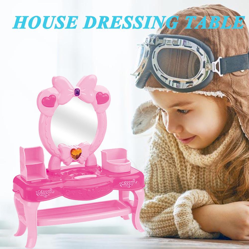 Baby Mädchen Dressing Tisch Spielzeug Kinder Schönheit Kosmetische Spielzeug Pretend Spielen Spielzeug Haar Trockner Make-up Pinsel Make-up Geschenk Sets Gute QualitäT