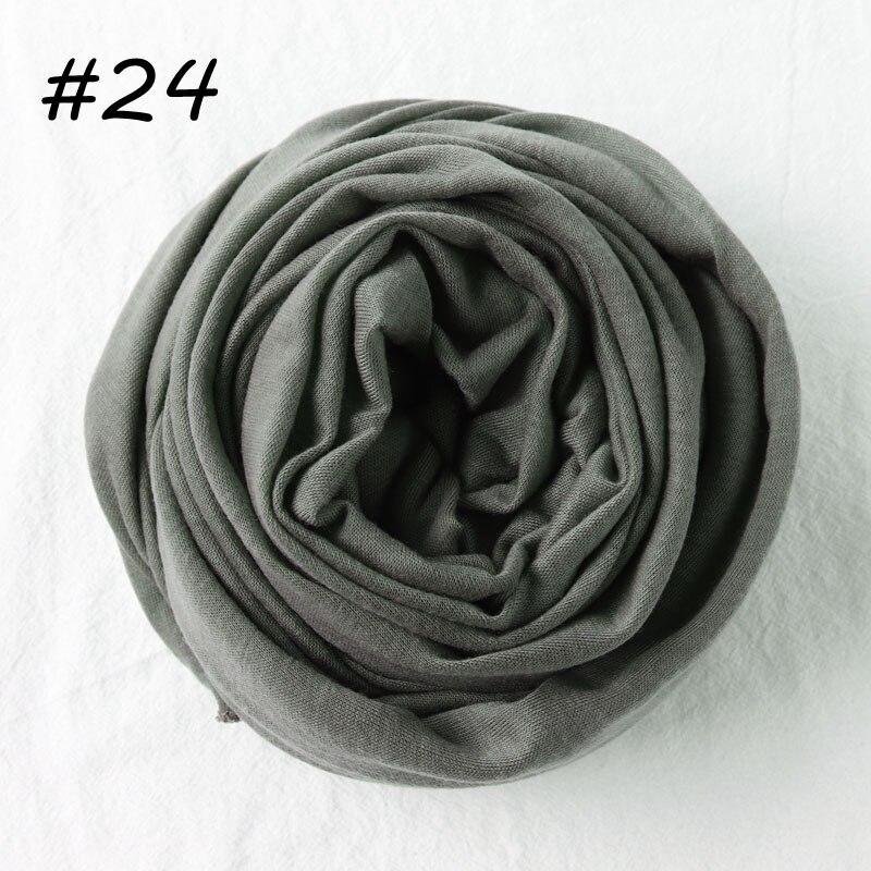 Один кусок Хиджаб Женский вискозный Джерси-шарф Мусульманский Исламский сплошной простой Джерси хиджабы Макси шарфы мягкие шали 70x160 см - Цвет: 24 covert green