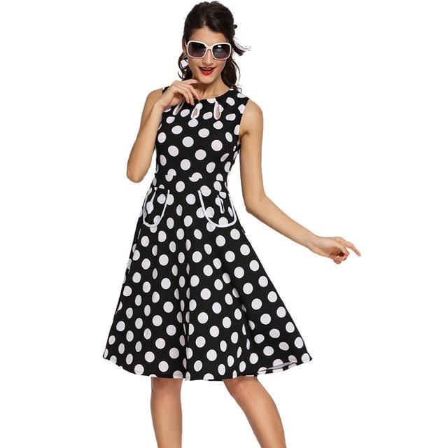Vestidos Femininos Polka Dot Retro Kleid Mit Schlüsselloch 3 Farben ...
