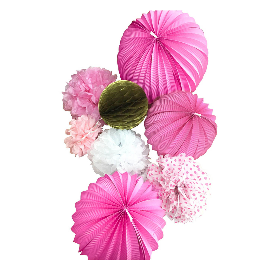 8pcs(Gold Pink) Paper Decoration Set Paper Crafts(...