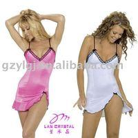 Gros livraison gratuite, Sexy Lingerie Club Wear Bs-8955 Hot rose, Blanc Mini robe sous - vêtements une taille