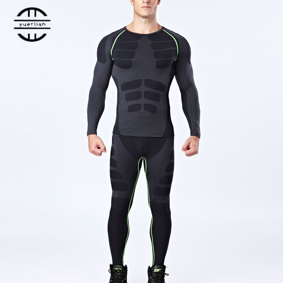 Brand New Compression Sports Garnitur Men Gym Shirt Fitness Legging Męskie Gym T-Shirt Koszykówka Fitness rajstopy Czarne zestawy do biegania